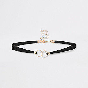 Gold tone black interlink circle choker
