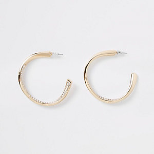 Gold tone rhinestone pave chunky hoop earrings