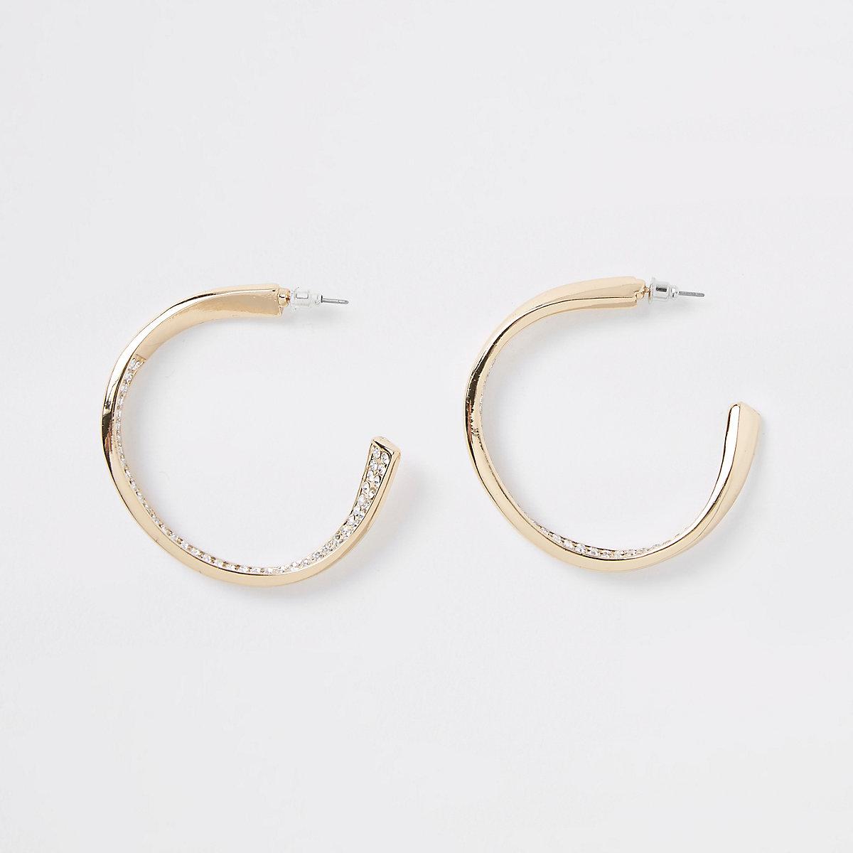Gold tone rhinestone pave chunky hoop earrings