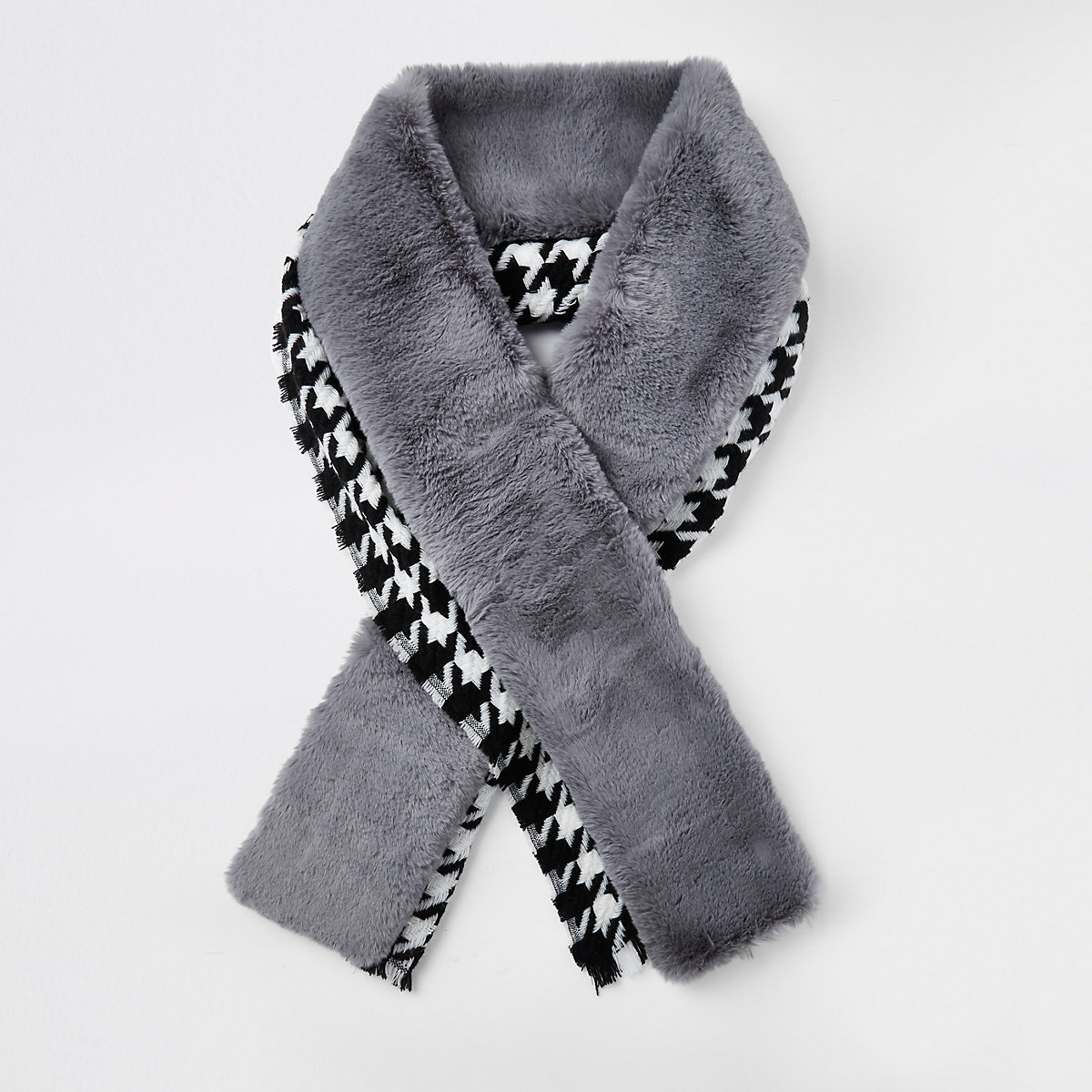 Blue dogtooth faux fur trim scarf