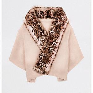 Pink leopard print faux fur trim scarf