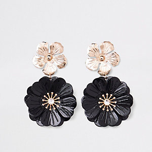 Black double flower drop earrings