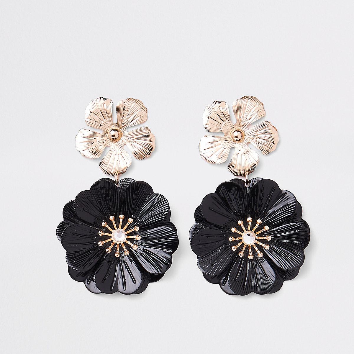 Pendants d'oreilles à deux fleurs noirs