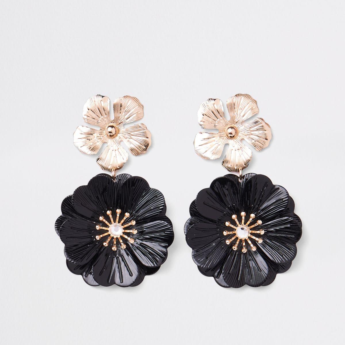 Black double flower drop earrings