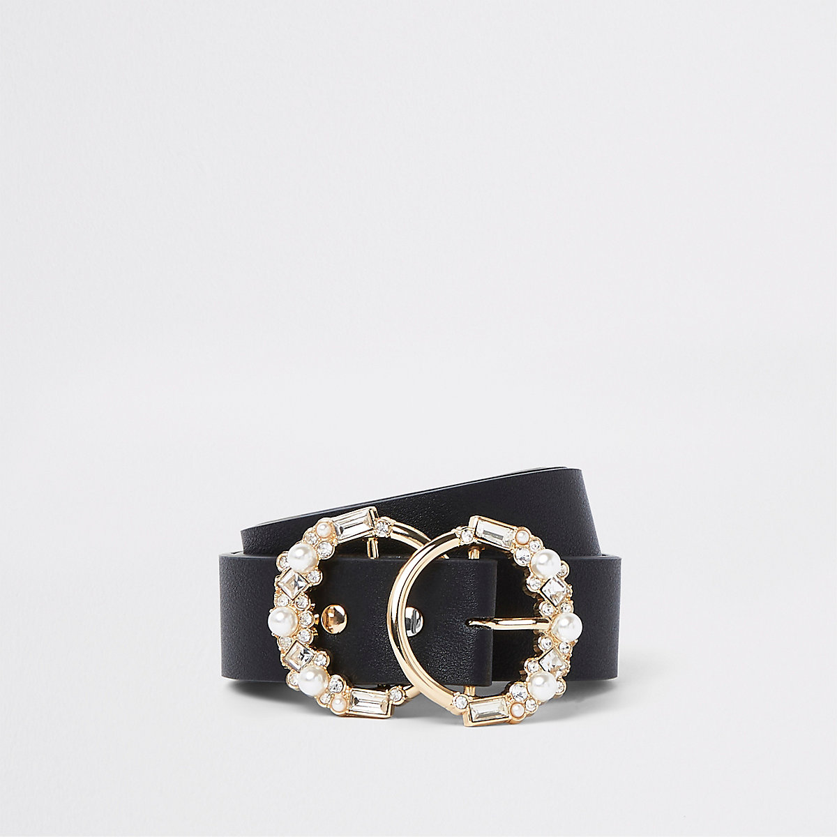 Black embellished double ring buckle belt
