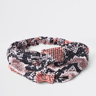 Pink Snake Print Twist Headband by River Island