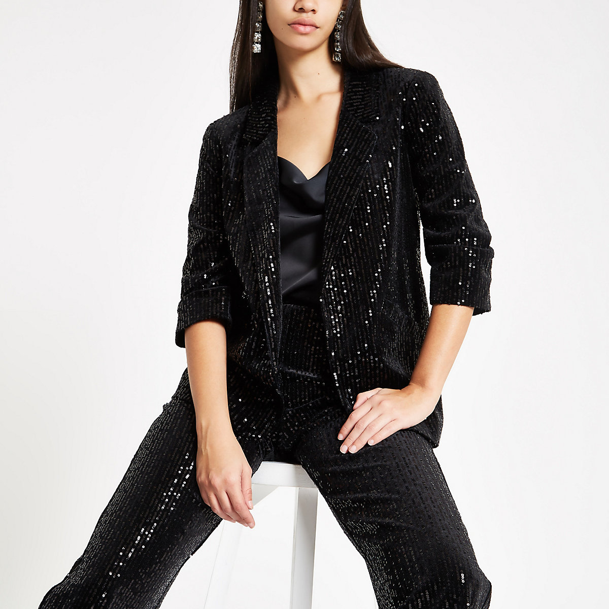 Black sequin stripe open front blazer