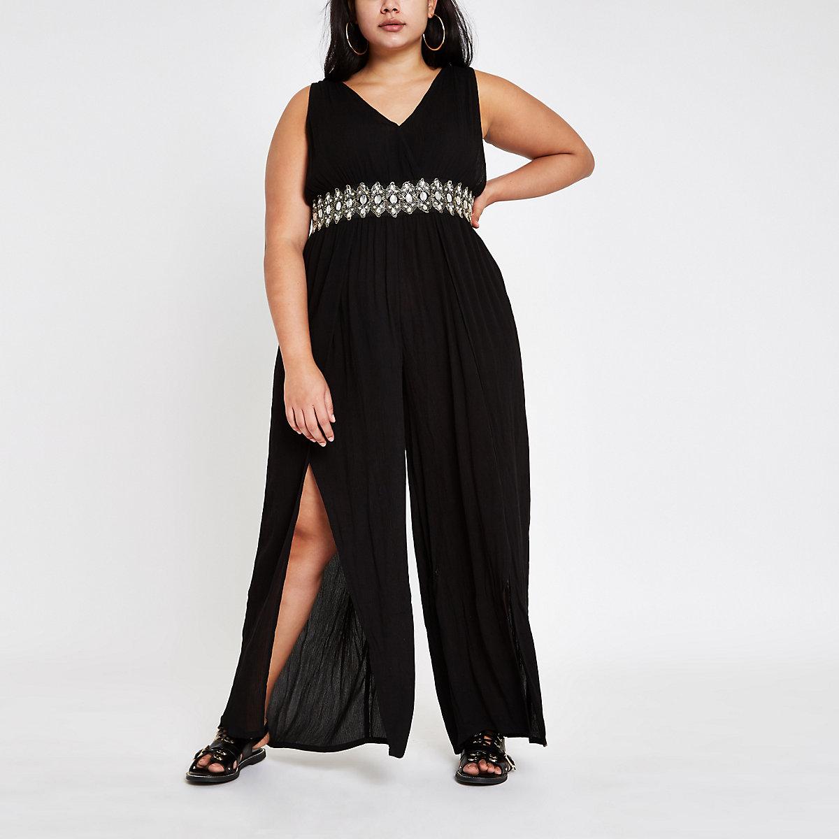 Plus black diamante trim beach jumpsuit