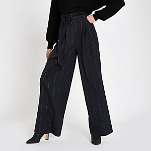 Navy stripe tie waist wide leg pants