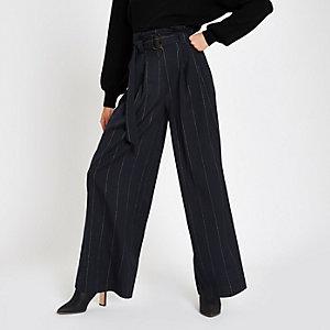 Pantalon large rayé bleu marine noué à la taille