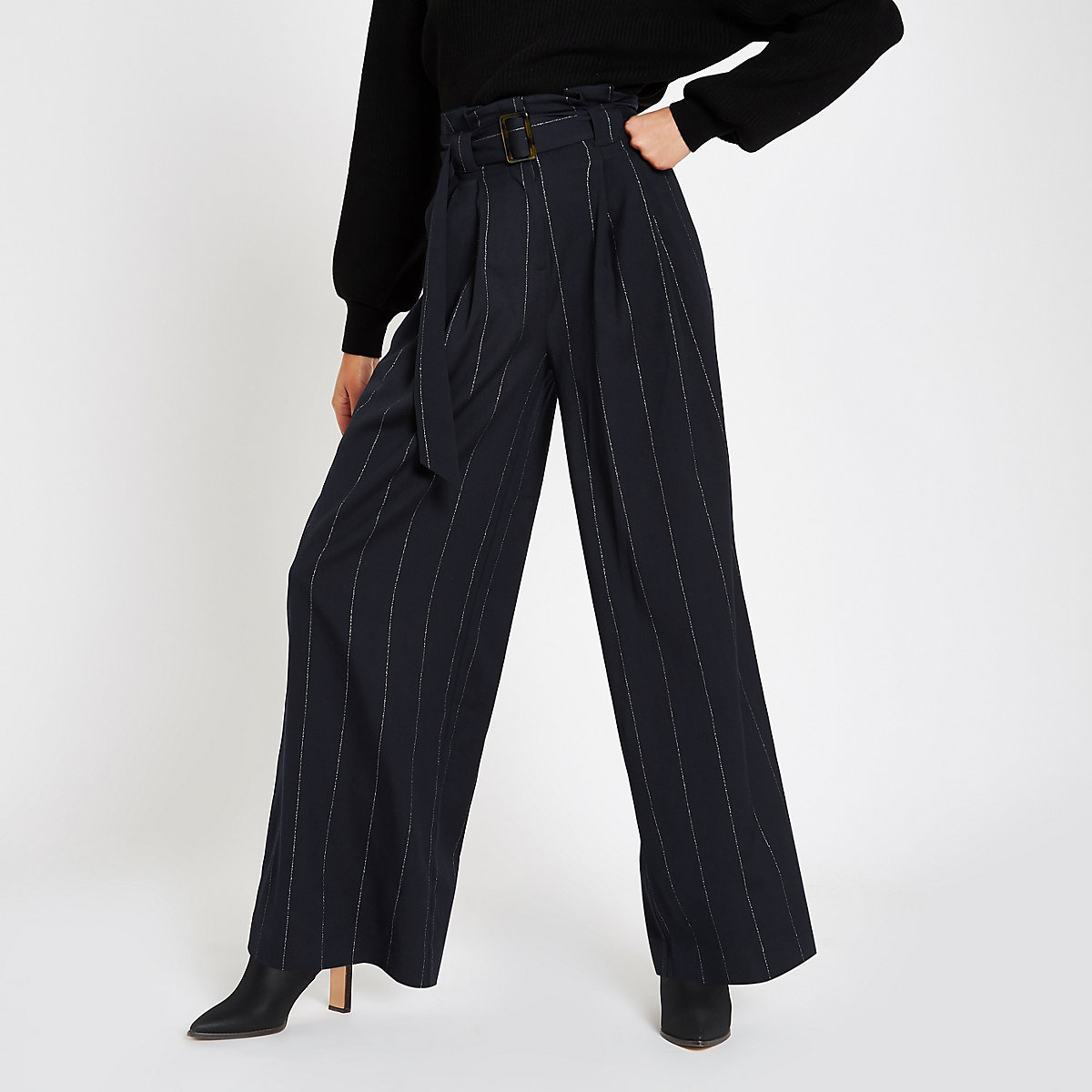 Navy stripe tie waist wide leg trousers
