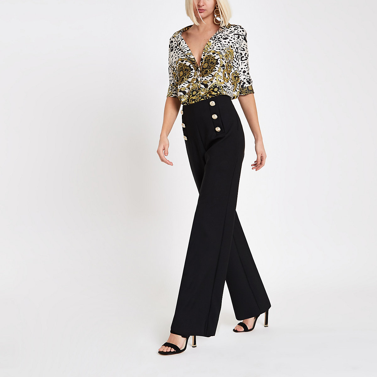 Black gold tone button wide leg trousers