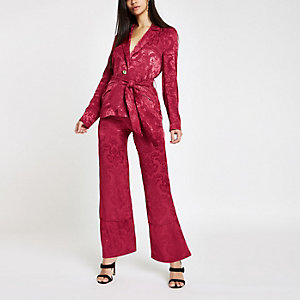 Pink jacquard wide leg trousers