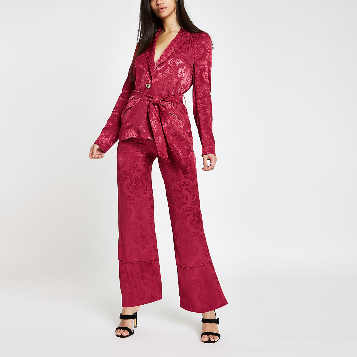 Pink jacquard wide leg pants