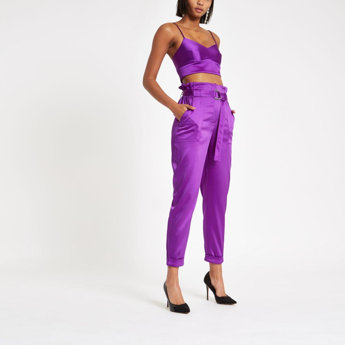 Purple satin paperbag waist trousers