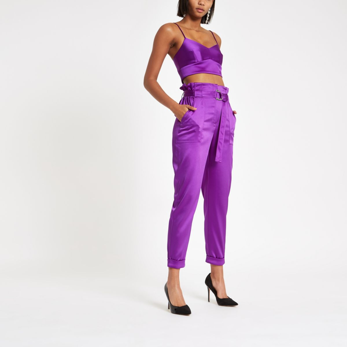 Purple satin paperbag waist pants
