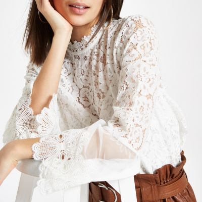White Lace High Neck Long Sleeve Top by River Island