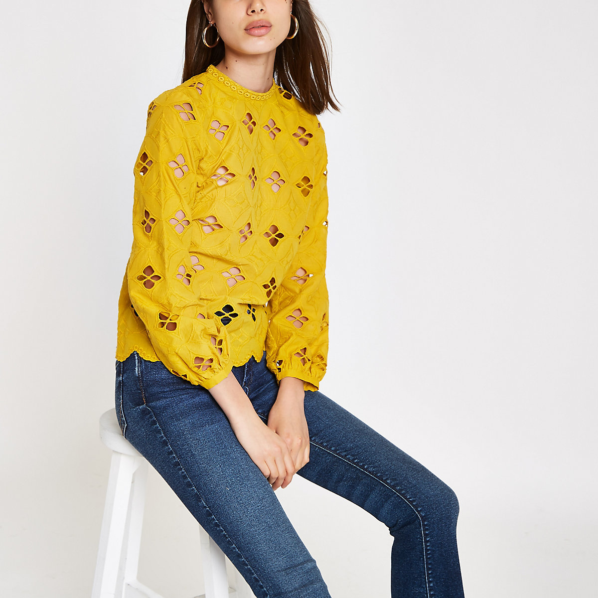 Dark yellow broderie long sleeve top