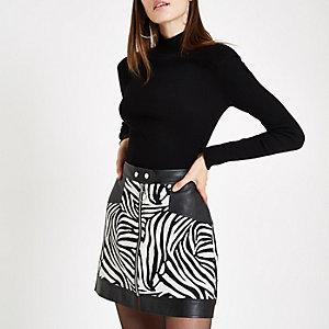 White jacquard mixed zebra print mini skirt