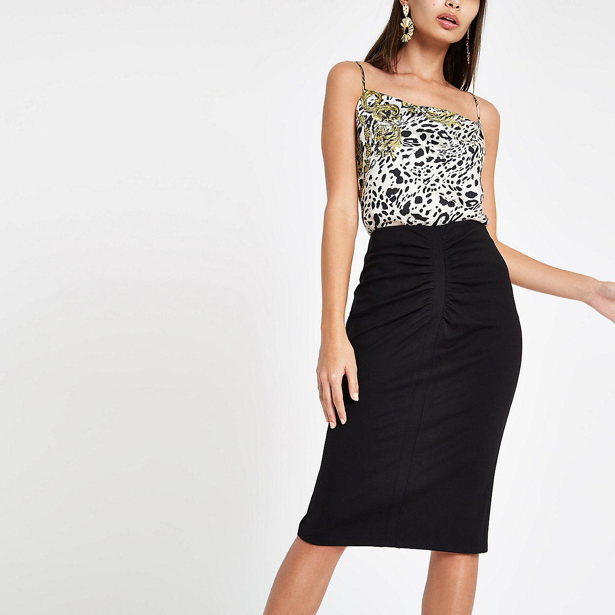 Black ruched ponte pencil skirt