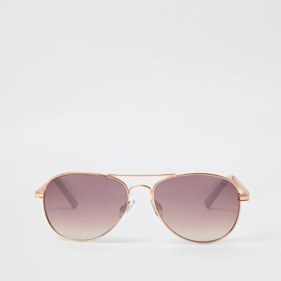 Rose Gold Pink Lens Chain Aviator Sunglasses by River Island