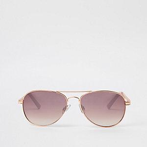 Roségouden pilotenzonnebril met roze glazen