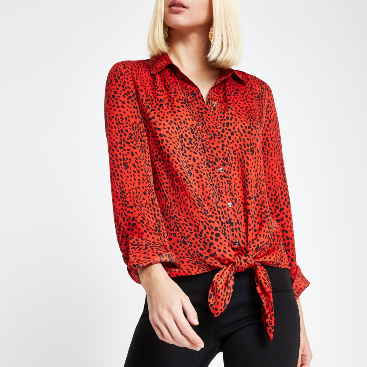 Red leopard print tie front shirt