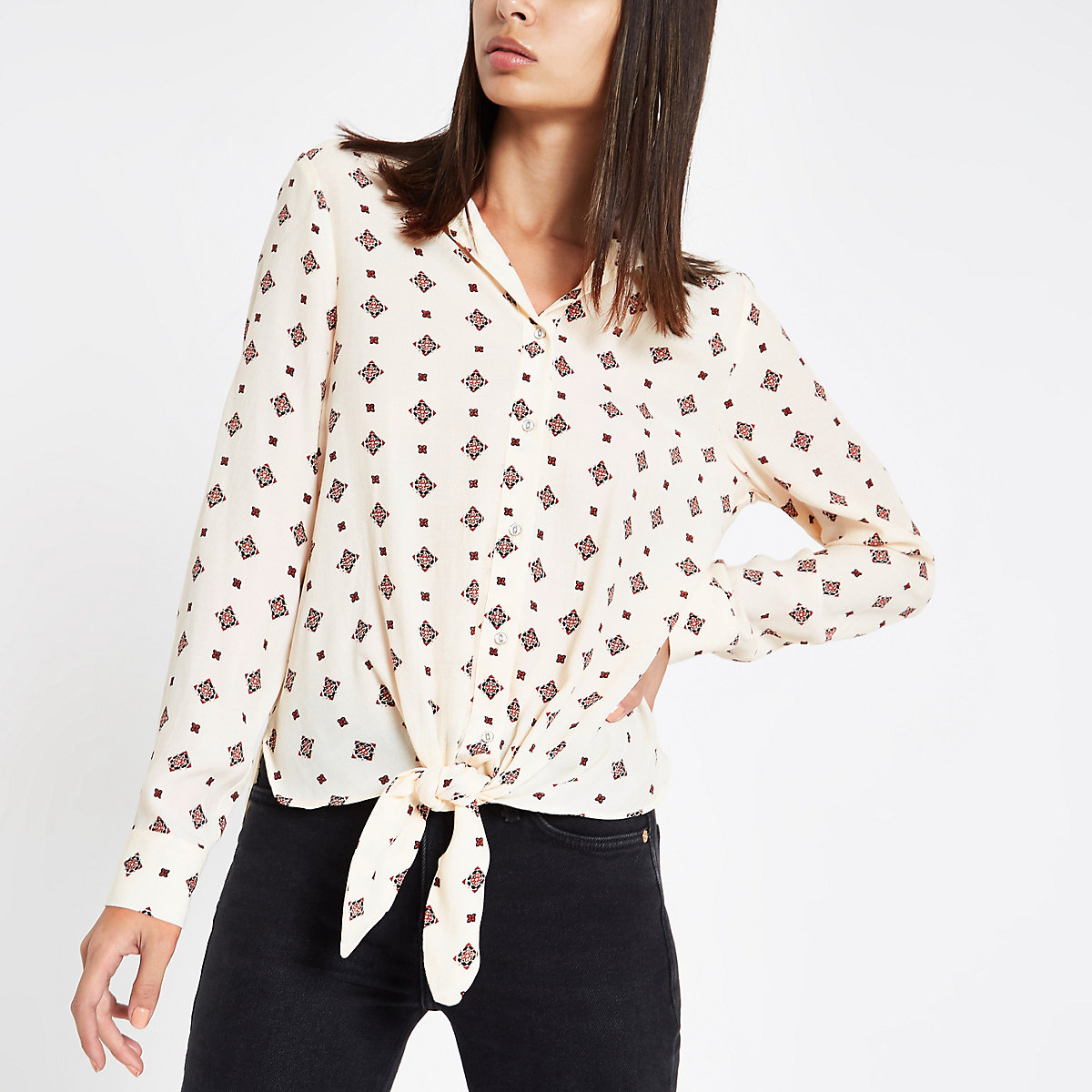 Cream tile print tie front blouse