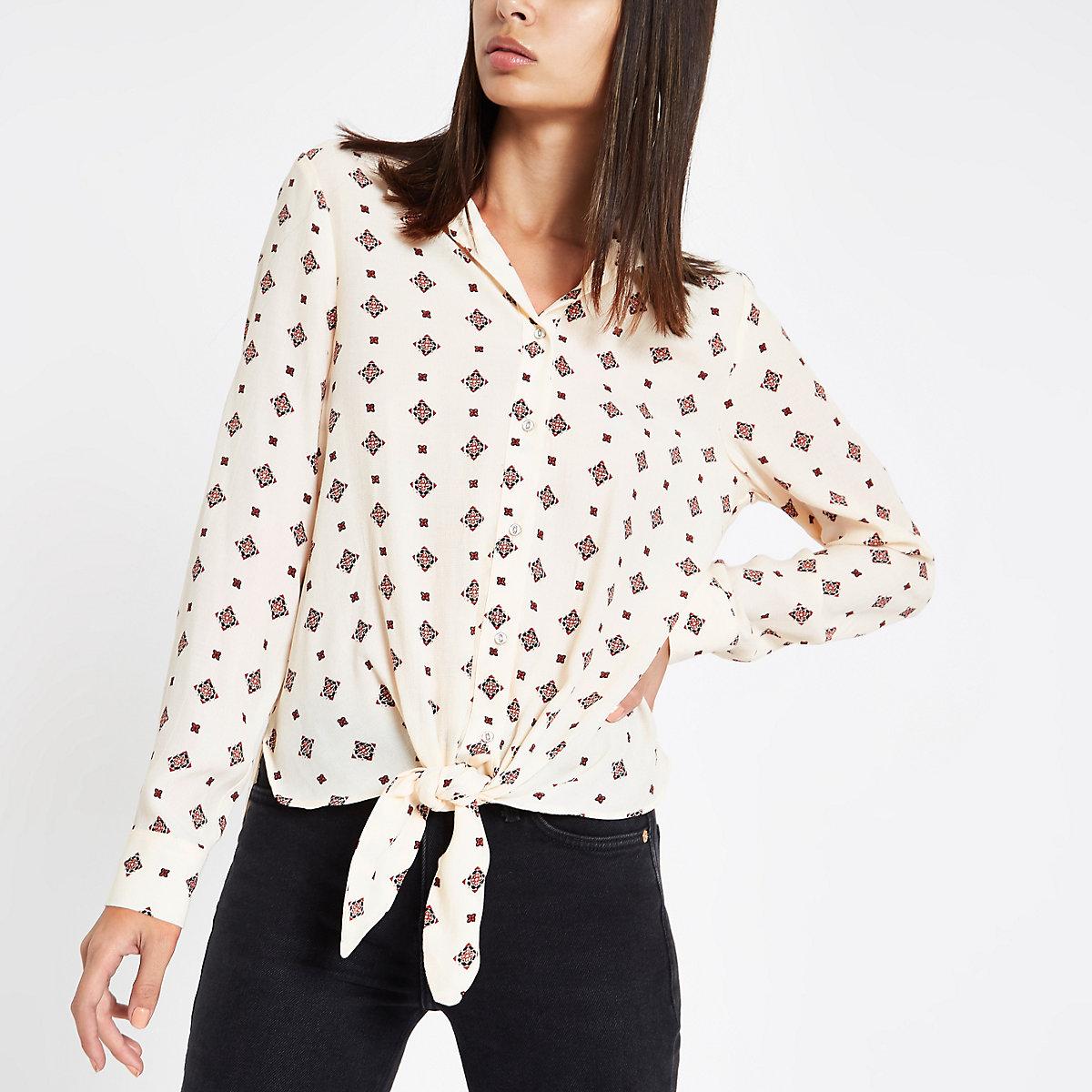 Cream tile print tie front blouse