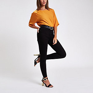 Oranje ruimvallende blouse