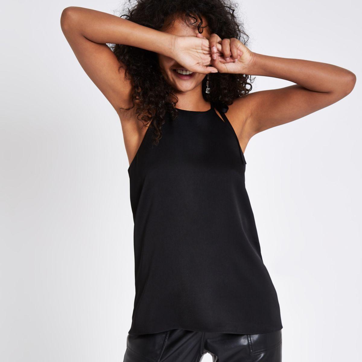 Black halter neck cami top