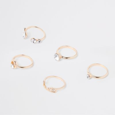Gold Tone Finger Top Ring Multipack by River Island