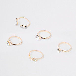 Gold tone finger top ring multipack