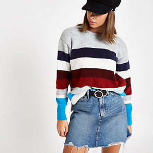 Burgundy stripe crew neck knit jumper