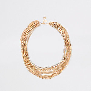 Gold tone multi chain layered necklace