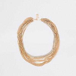 Gold tone multi chain layered necklace