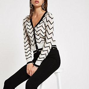 Wit vest met V-hals en chevron-streep