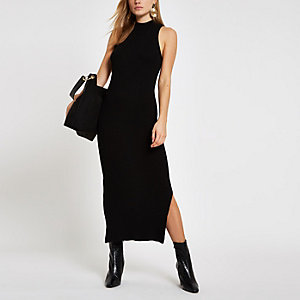Black ribbed racer neck maxi dress