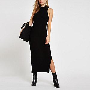 Zwarte geribbelde maxi-jurk met racerhals