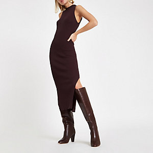 Chocolate ribbed racer neck maxi dress