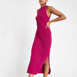 Pink ribbed racer neck maxi dress
