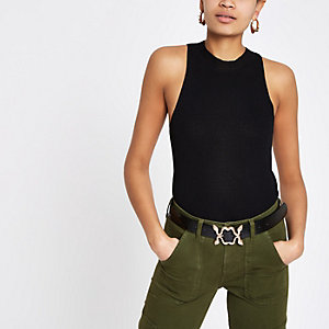 Black turtle neck cut away tank