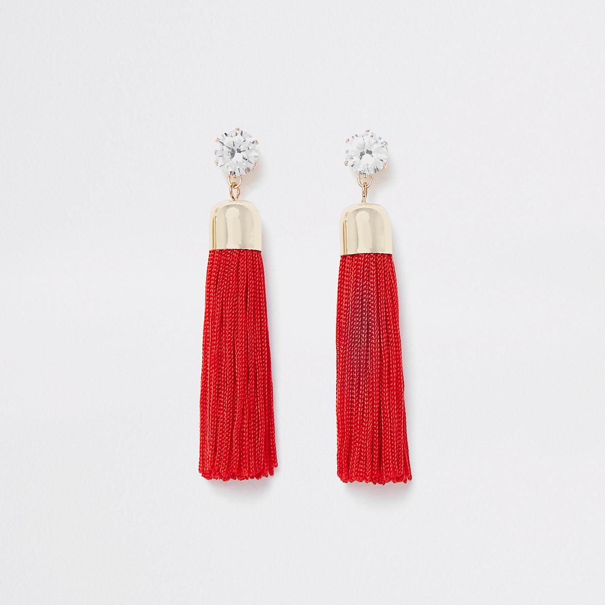 Gold tone red rhinestone tassel drop earrings