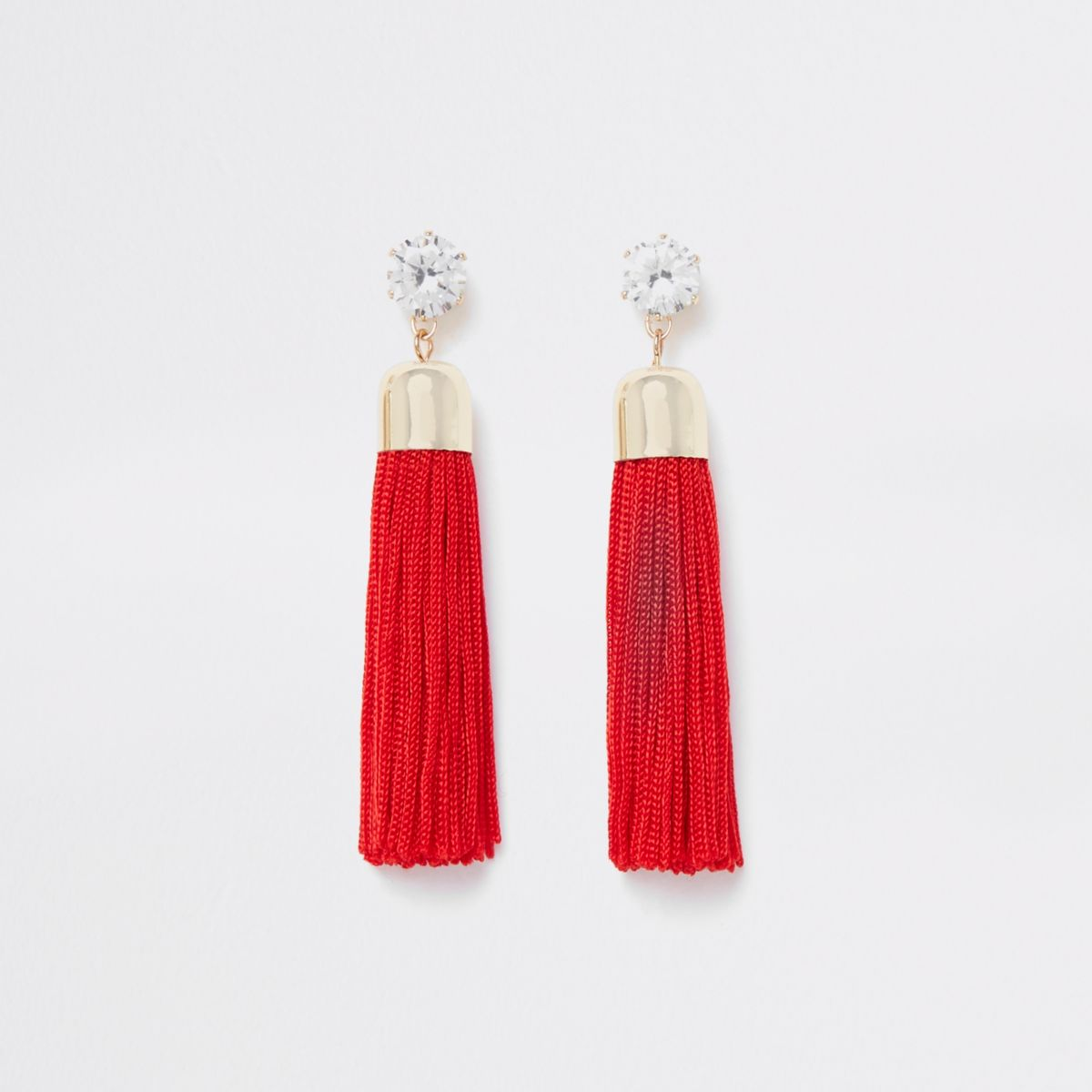 Gold tone red rhinestone tassel drop earrings