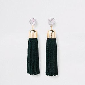 Boucles d'oreilles pampilles vertes et dorées avec pierres fantaisie