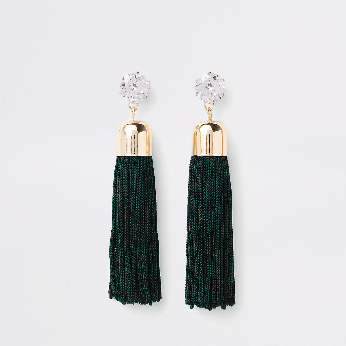 Gold tone green rhinestone tassel drop earrings