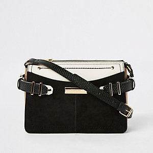Black contrast tab side cross body bag