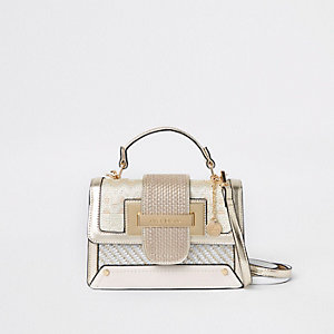 Goudkleurige satchel met metallic contrast