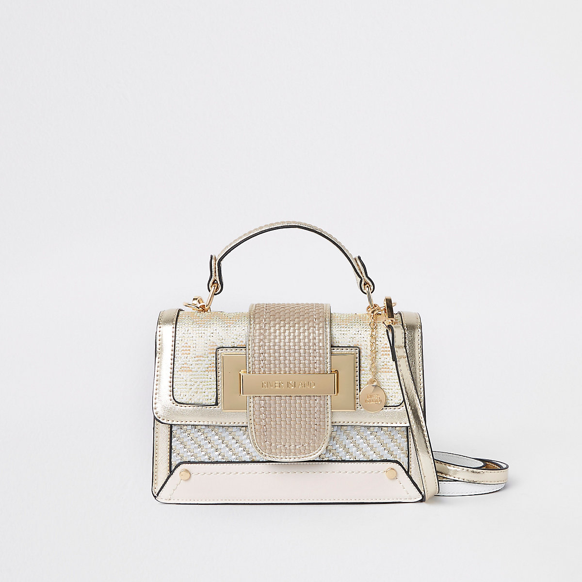 Gold metallic contrast satchel bag