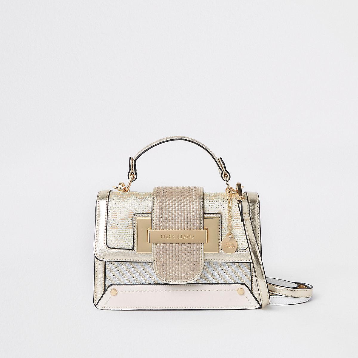Gold metallic contrast satchel bag